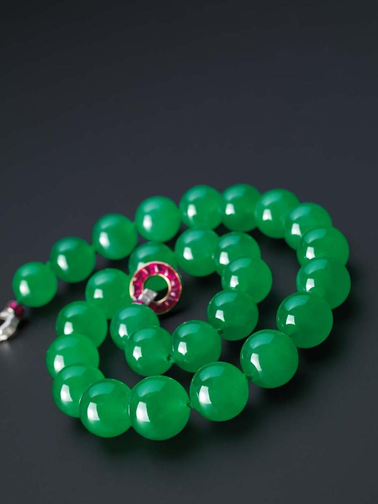 Billed as the greatest jadeite bead necklace in the world, Cartier bought the necklace at Sotheby's Hong Kong's Magnificent Jewels and Jadeite Spring Sale in April 2014 following a 20-minute showdown with six other bidders