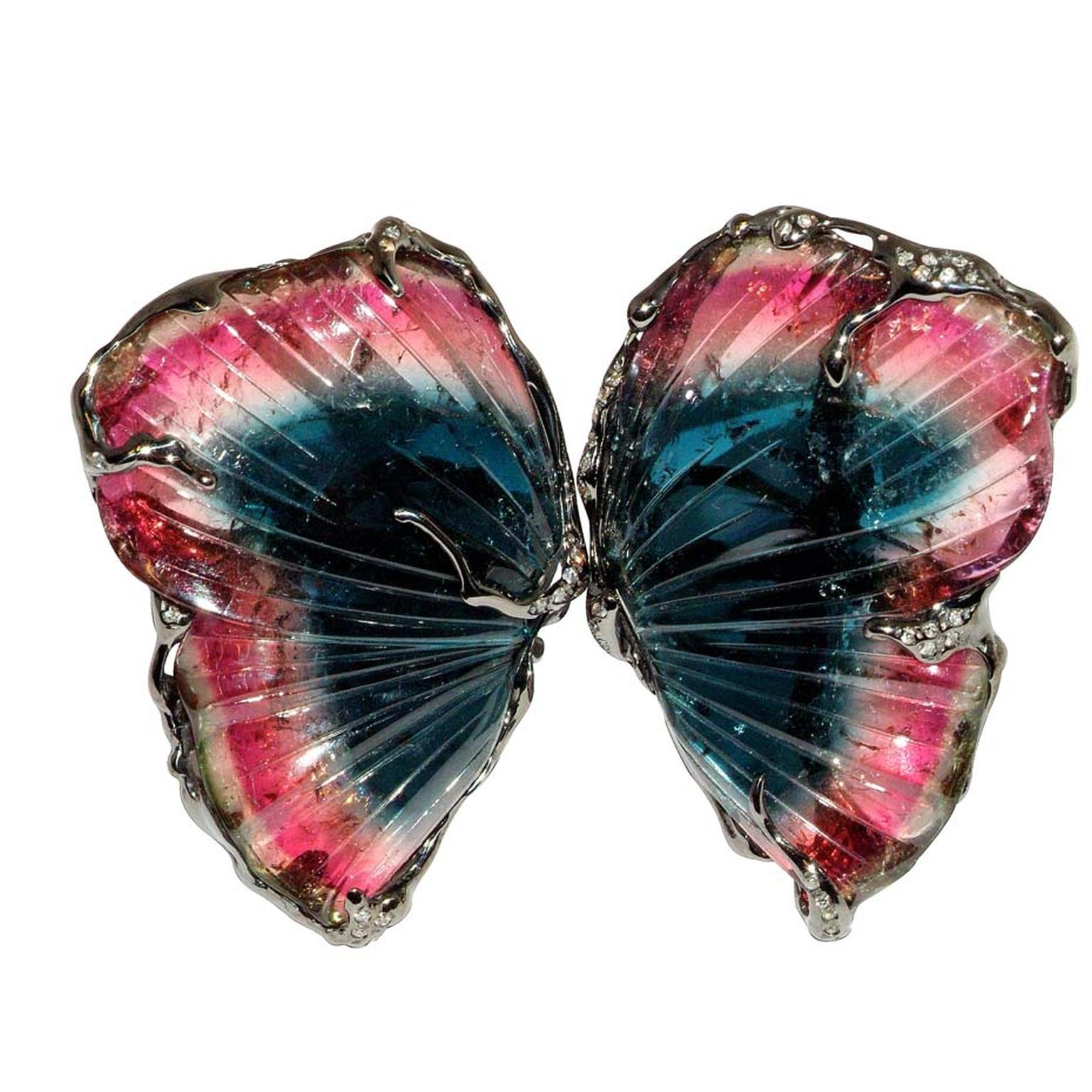 Lucifer Vir Honestus will be showing this impressive Double Butterfly ring in black gold with tourmaline slices and diamonds ($17,210) at the Couture Show Las Vegas