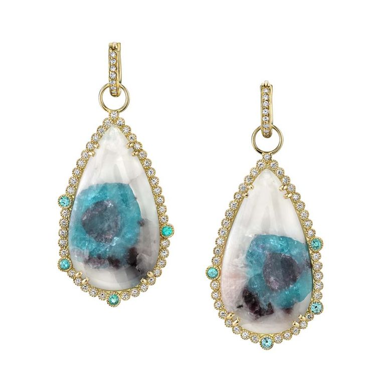 Erica Courtney and her Paraiba tourmaline slice earrings will be a highlight of the Couture Show Las Vegas