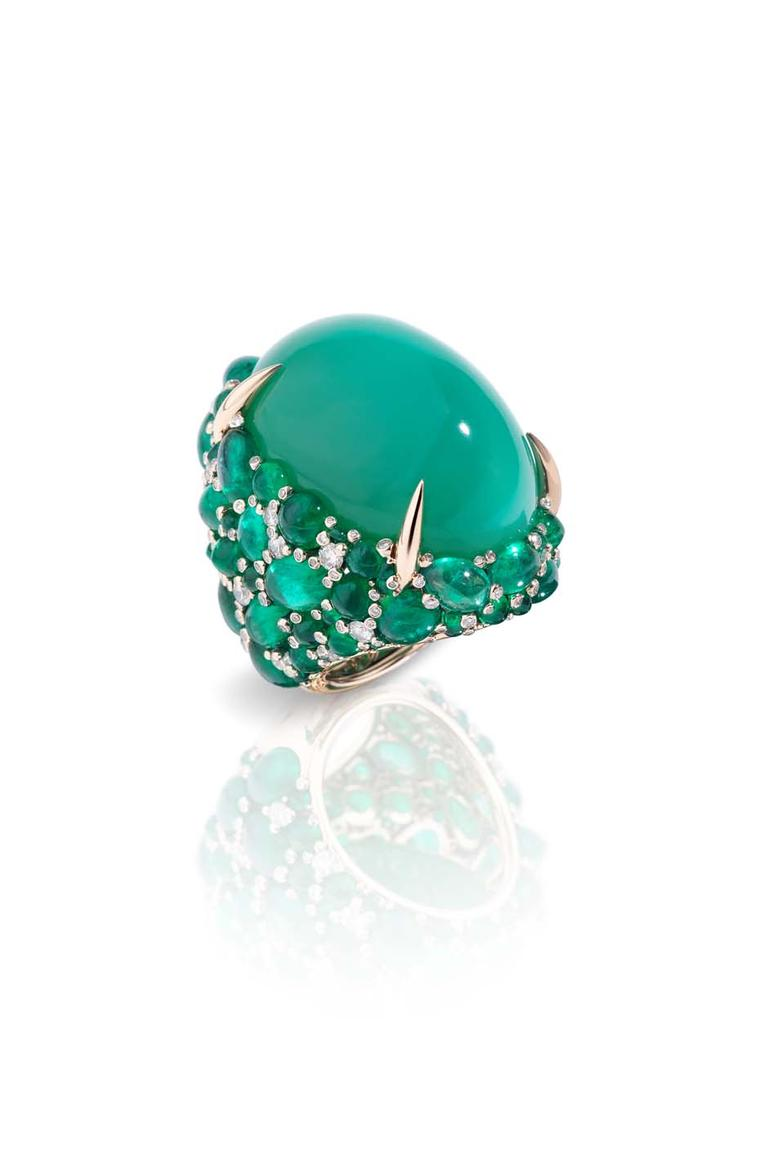 Pomellato Pom Pom griffe ring featuring a green chrysoprase surrounded by cabochon emeralds and diamonds.