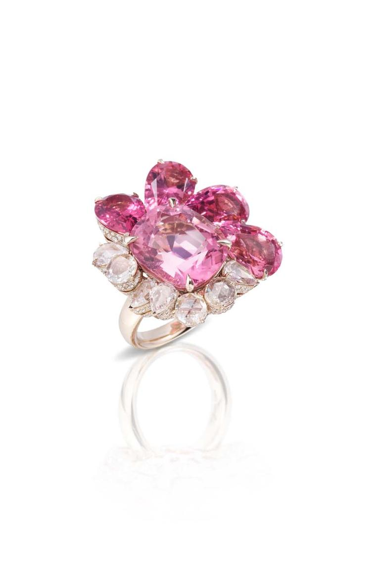 Pomellato Pom Pom ring featuring pink tourmalines and diamonds.
