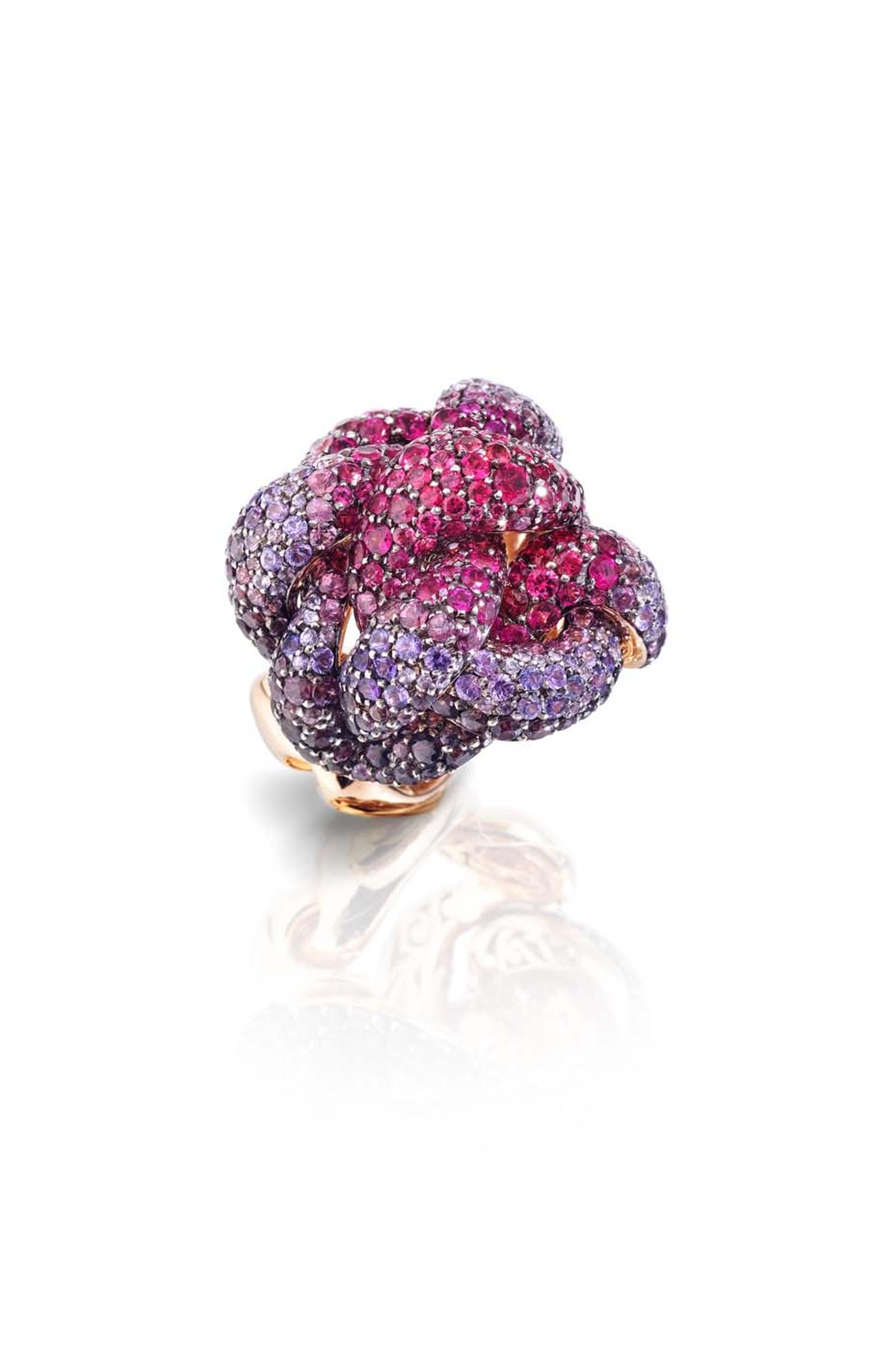 Pomellato Pom Pom ring with a pavé of spinels, tourmalines and sapphires arranged in an ombre sequence.