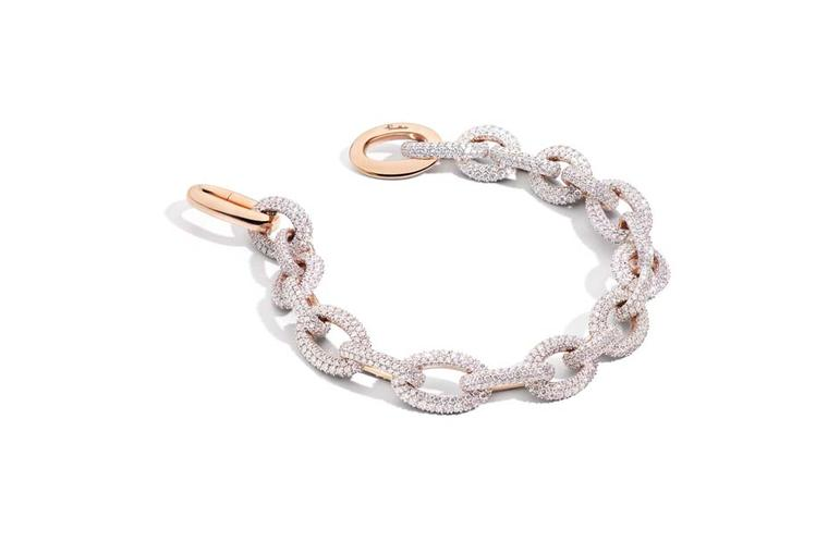 Pomellato rose gold and diamond Pom Pom bracelet.