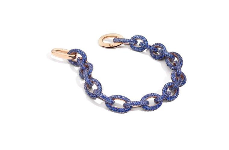 Pomellato Pom Pom rose gold and tanzanite bracelet.