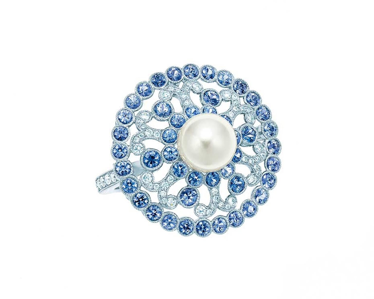 Tiffany & Co 2014 Blue Book collection ring with a central pearl surrounded by diamonds and sapphires