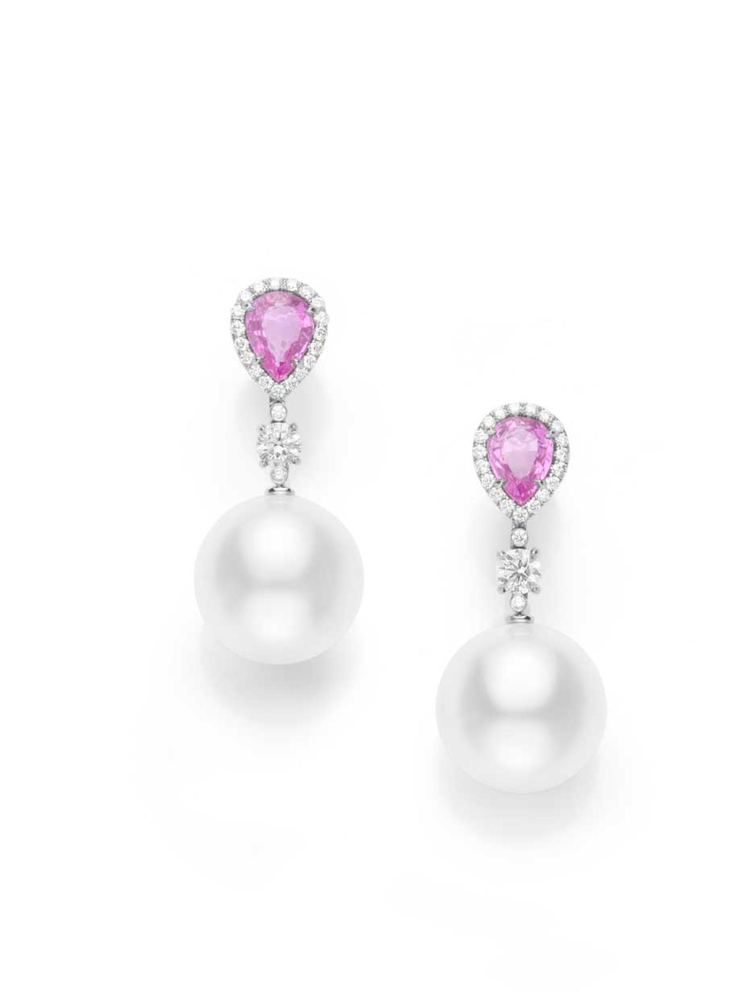 Mikimoto Color Prestige collection earrings featuring a pair of pink sapphires and pearls connected by a trail of brilliant-cut diamonds