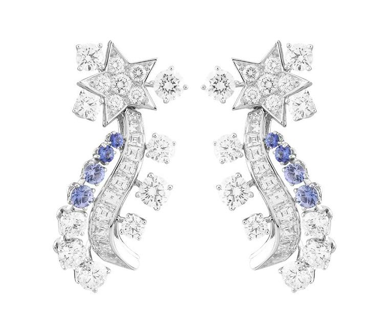 Worn by Kirsten Dunst to the 2014 Met Ball, the Van Cleef & Arpels Serenitatis earrings from the 'Voyages Extraordinaires' collection featuring diamonds and sapphires.