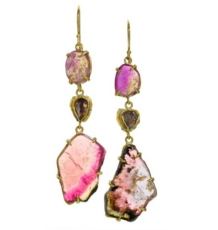 Margery Hirschey is also making her first appearance at the Couture Show Las Vegas with  jewels including these earrings in recycled gold, set with sapphires, diamonds and tourmaline slices