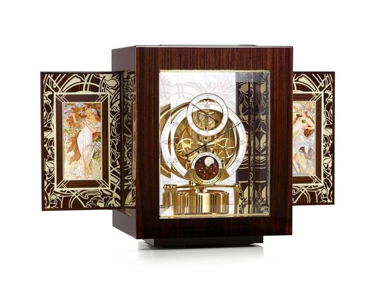 Jaeger-LeCoultre Hybris Artistica Collection Atmos clock is presented in an Art Nouveau case ornamented with enamel and wood marquetry