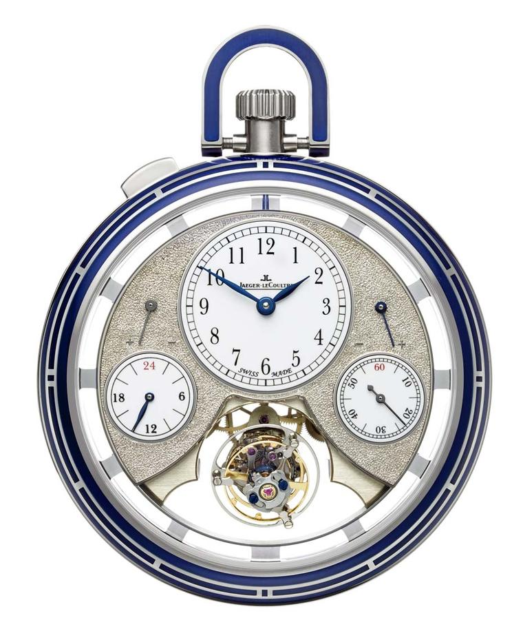 The blue paillonné enamel on the Jaeger-LeCoultre Hybris Artistica Collection Duomètre Sphérotourbillon  pocket  watch is achieved by grating tiny chips - paillons - from a block of silver on to the enamel before firing