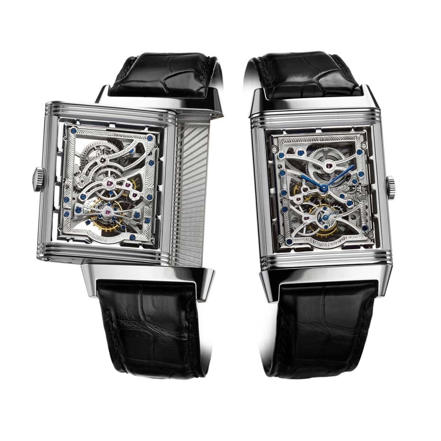 Jaeger-LeCoultre's Hybris Artistica Collection Grande Reverso Tourbillon Squelette watch. The pivoting part of the case is now sealed with two sapphire crystals, revealing the intricate openworked movement