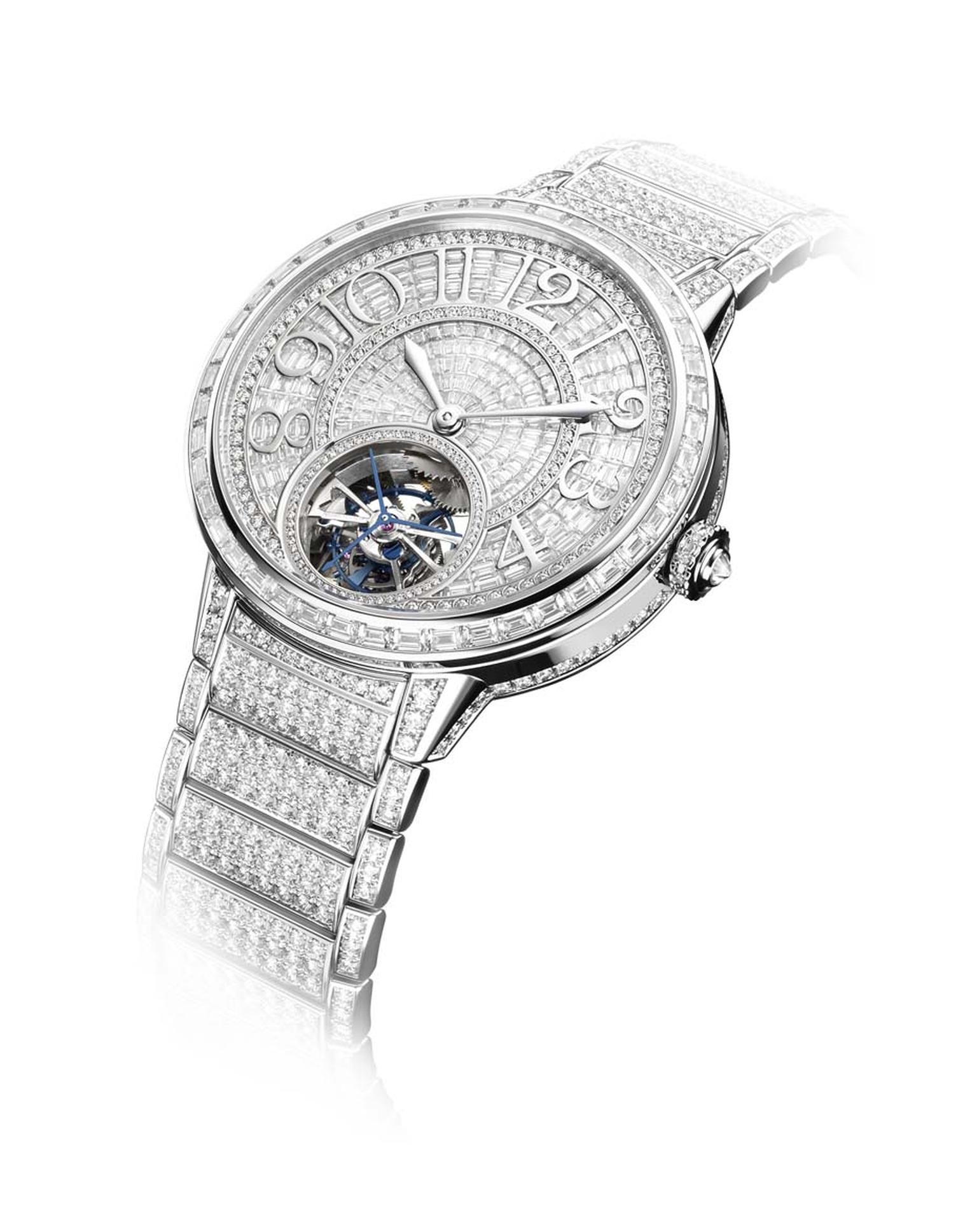 Jaeger-LeCoultre Hybris Artistica Collection Rendez-Vous Tourbillon haute-joaillerie watch has been wrapped in a coat of baguette and brilliant diamonds using the Rock-Setting technique, which hides the underlying metal supports