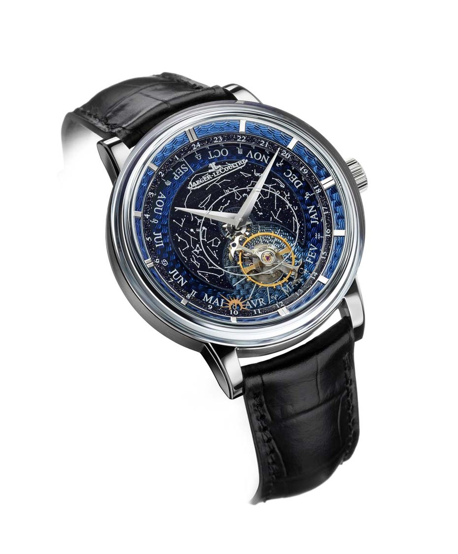By combining guilloché and translucent enamel to create textures and depth on the Jaeger-LeCoultre Hybris Artistica Collection Master Grande Tradition Tourbillon Céleste watch, time literally floats in a beautiful blue firmament