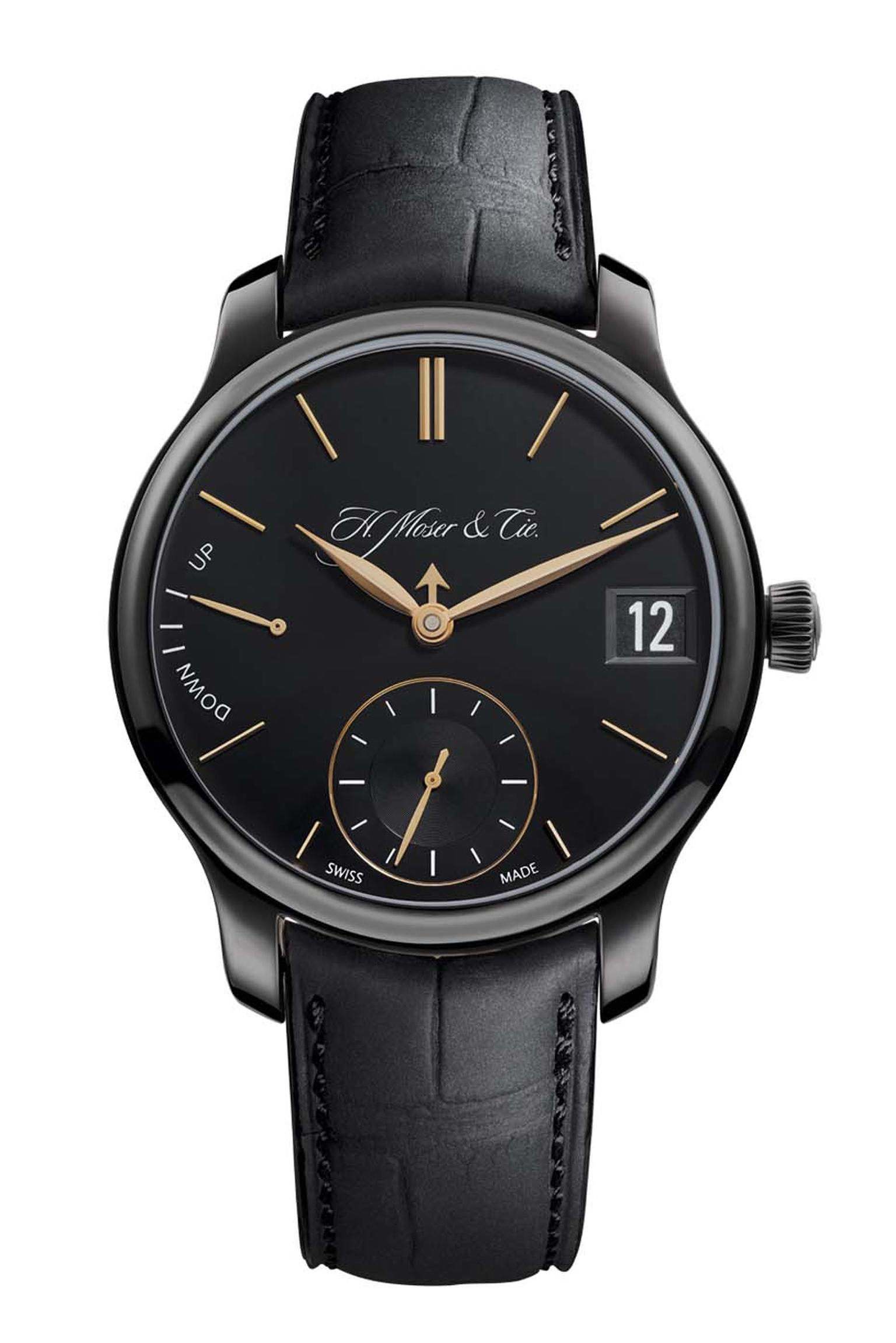 The date window, small seconds and 7-day power reserve functions are easy to spot on the H. Moser & Cie Perpetual Calendar Black Edition watch, whereas the month is ingeniously indicated by a little arrow-shaped hand and the leap-year indication appears o