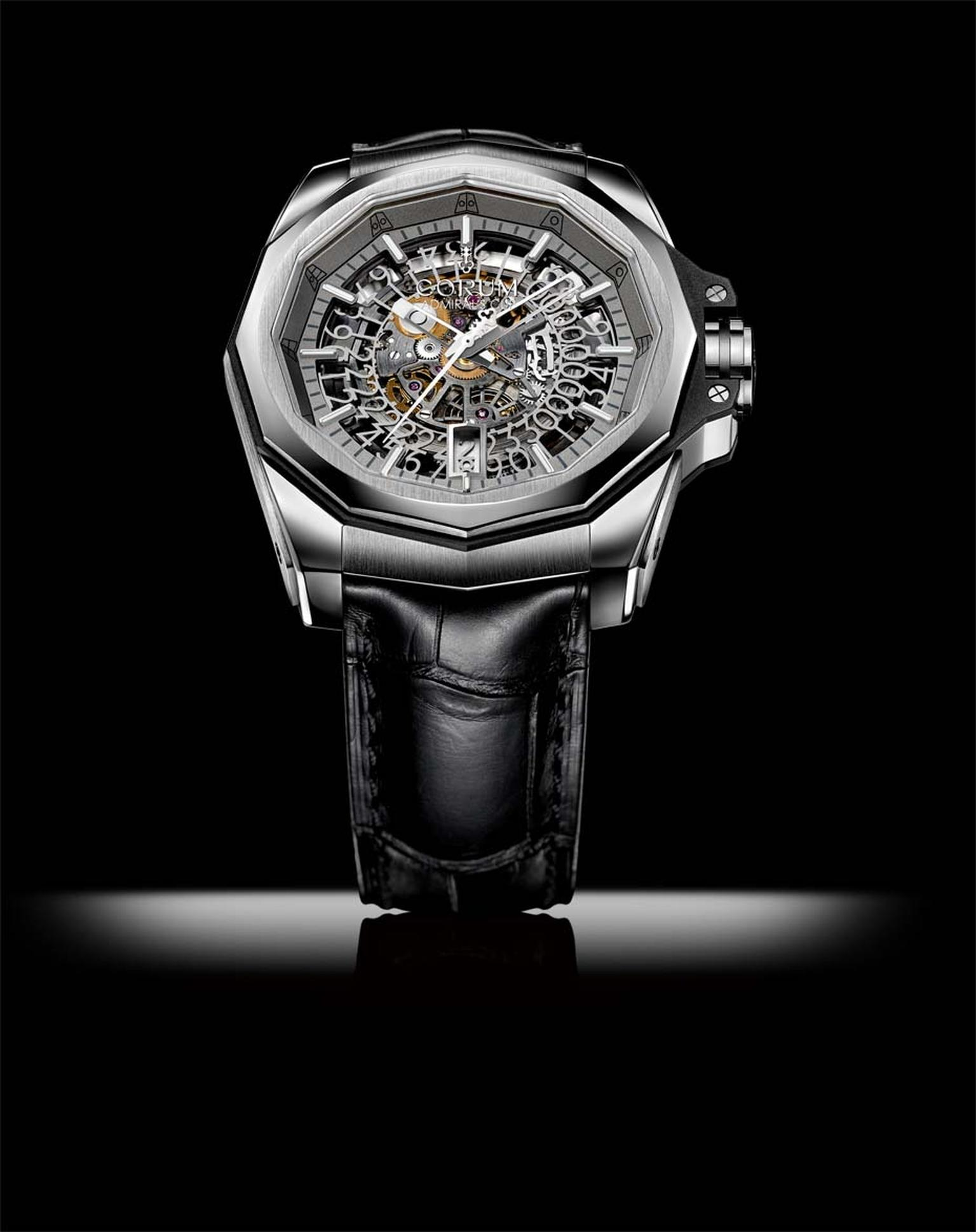 Corum's Admiral's Cup AC-One 45 Squelette watch is a marvel of filigreed metal with a large transparent date disc to best reveal the intricate gear trains