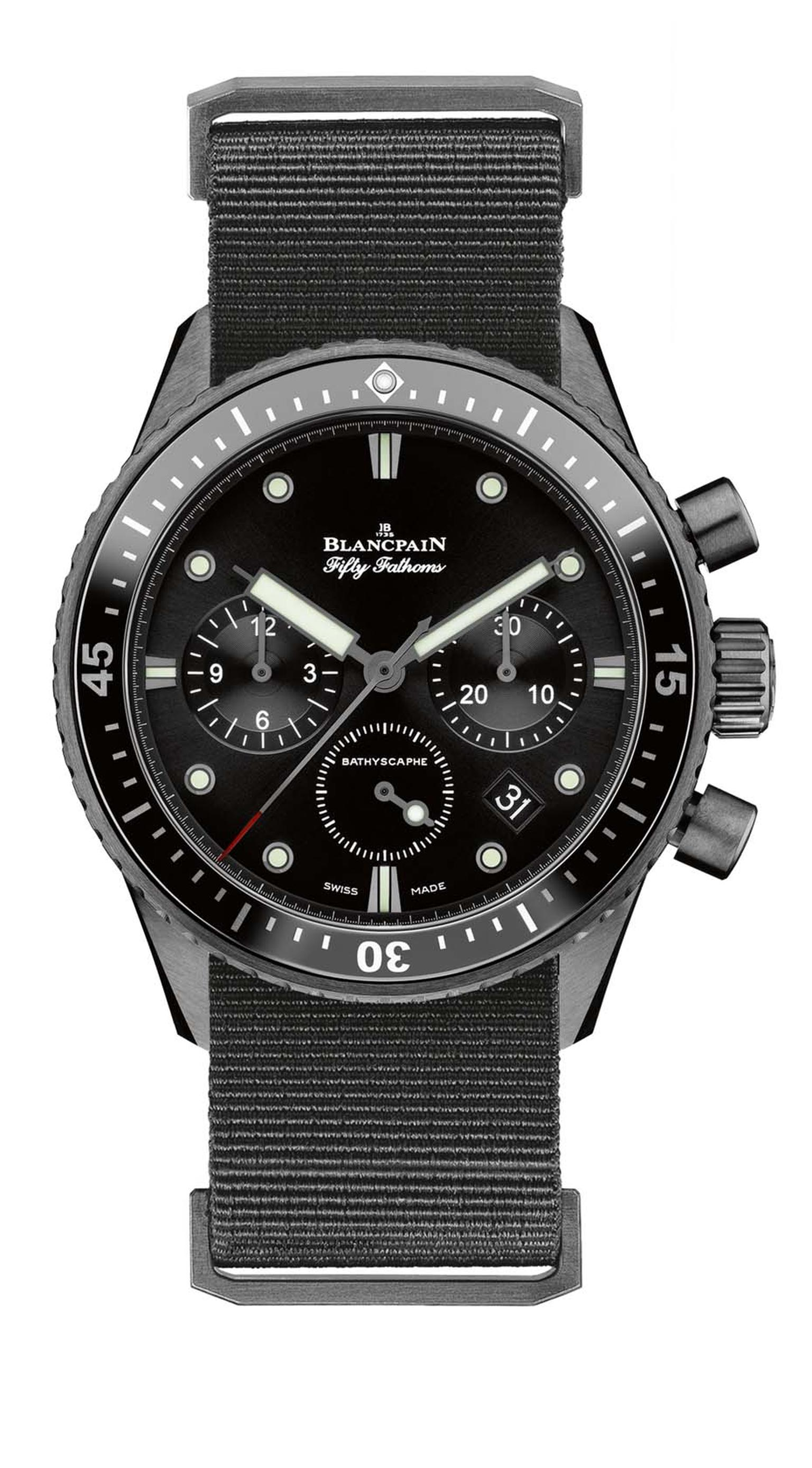 Originally designed for the French Navy, the Blancpain Fifty Fathoms Bathyscaphe Flyback Chronograph watch comes with a heavy-duty nylon NATO strap