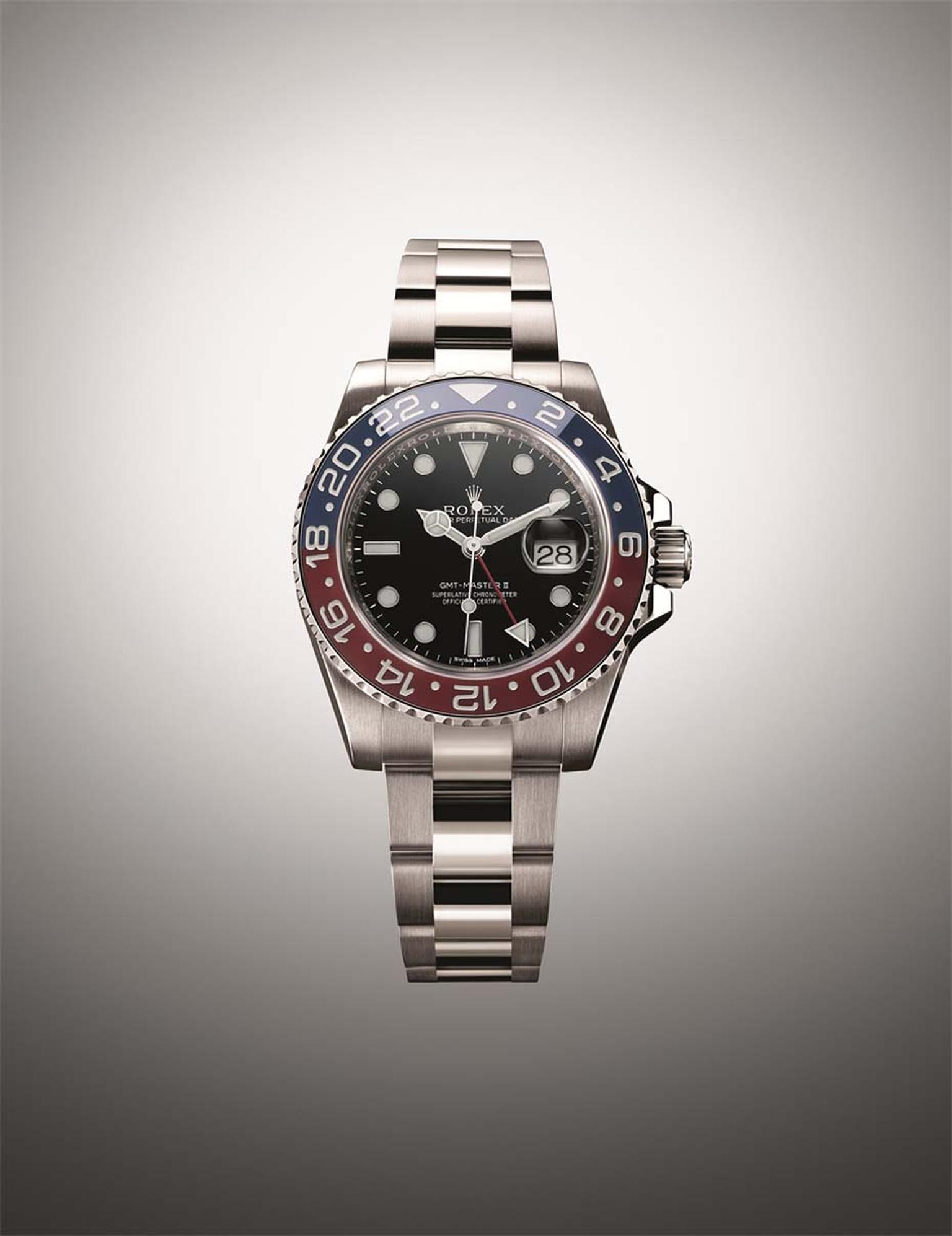The Rolex GMT Master watch features a world first with its two-coloured red and blue 'Pepsi' Cerachrom ceramic bezel.