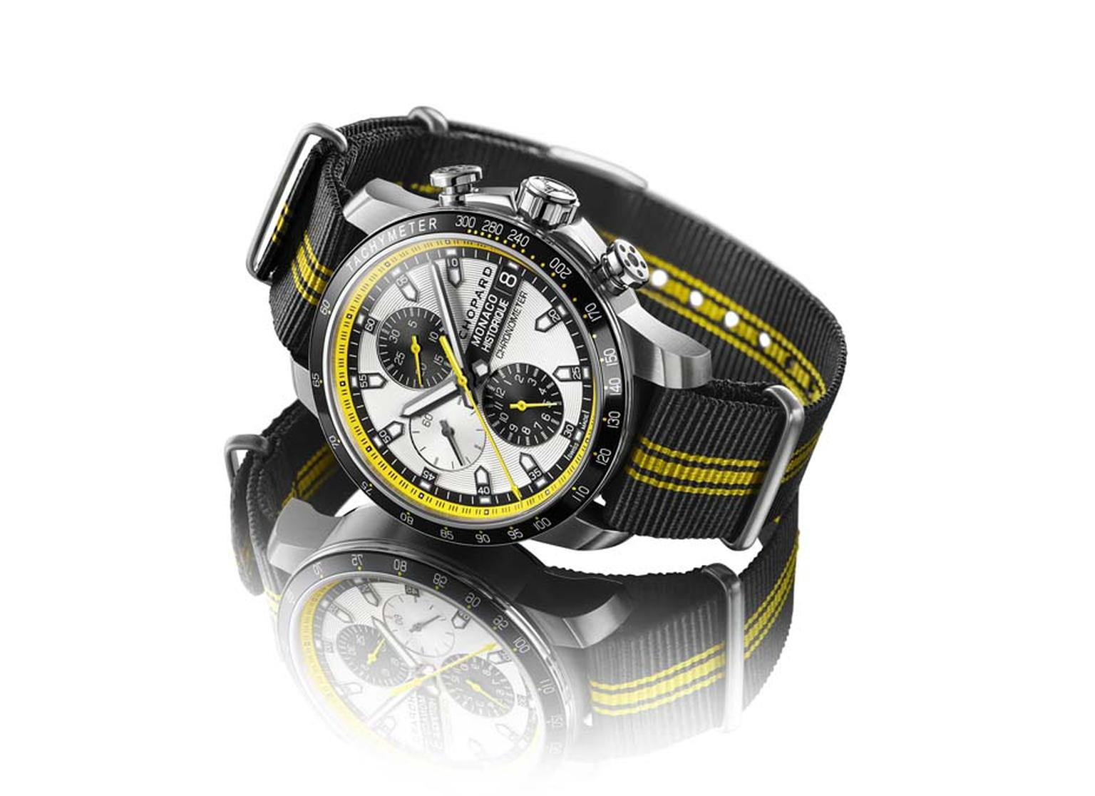 With its yellow and black stripes and NATO strap, Chopard's Grand Prix de Monaco Historique watch has been given an extra dose of raciness for 2014.