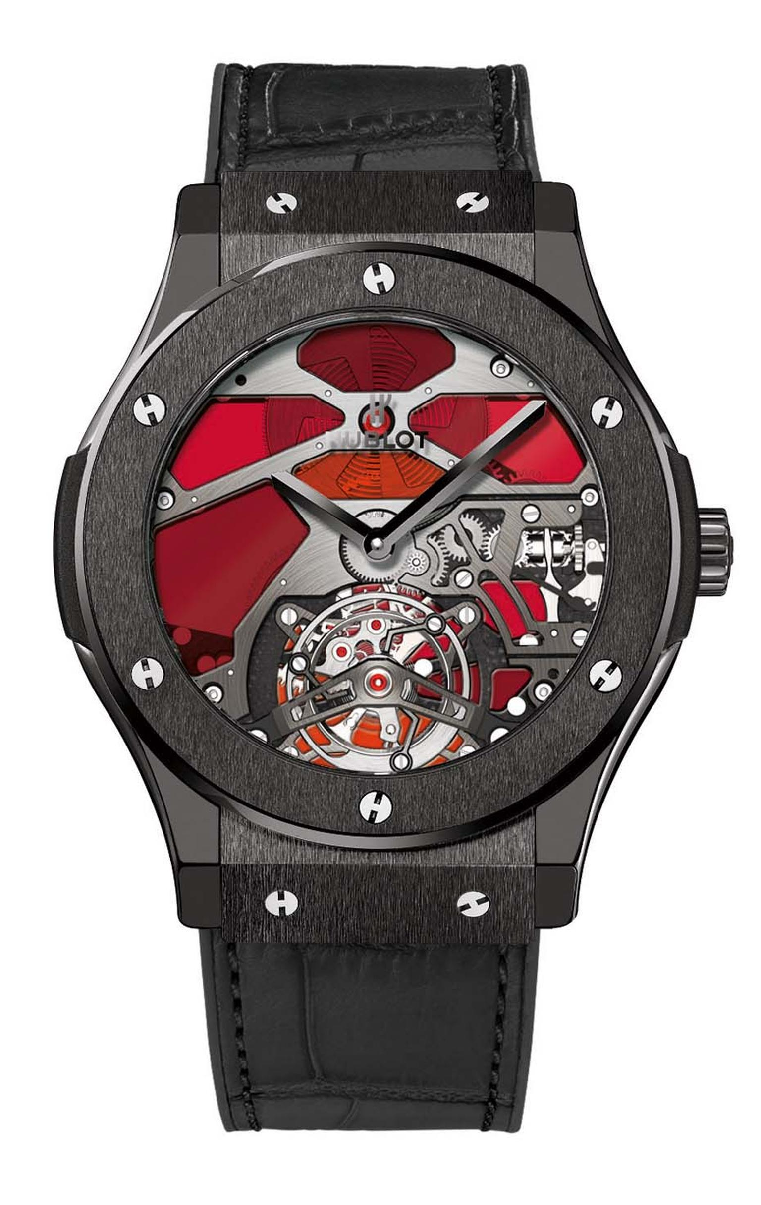Hublot has inserted slivers of red and blue stained glass to decorate the dial of the Classic Fusion Tourbillon Vitrail watch