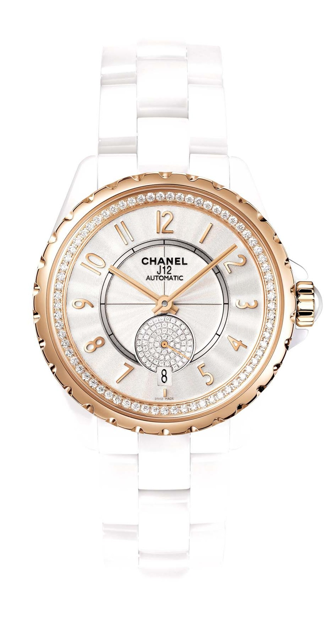 The Chanel J12-365 watch in high-tech ceramic features soft beige-gold, an alloy created exclusively by Chanel, and a guilloche´-finished opaline dial