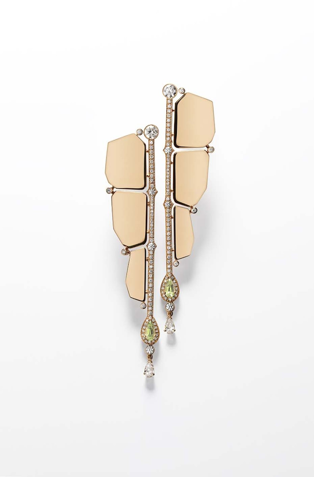 Hermès Niloticus Boutons d'Oreilles rose gold earrings featuring pear-shaped peridots and brilliant-cut diamonds