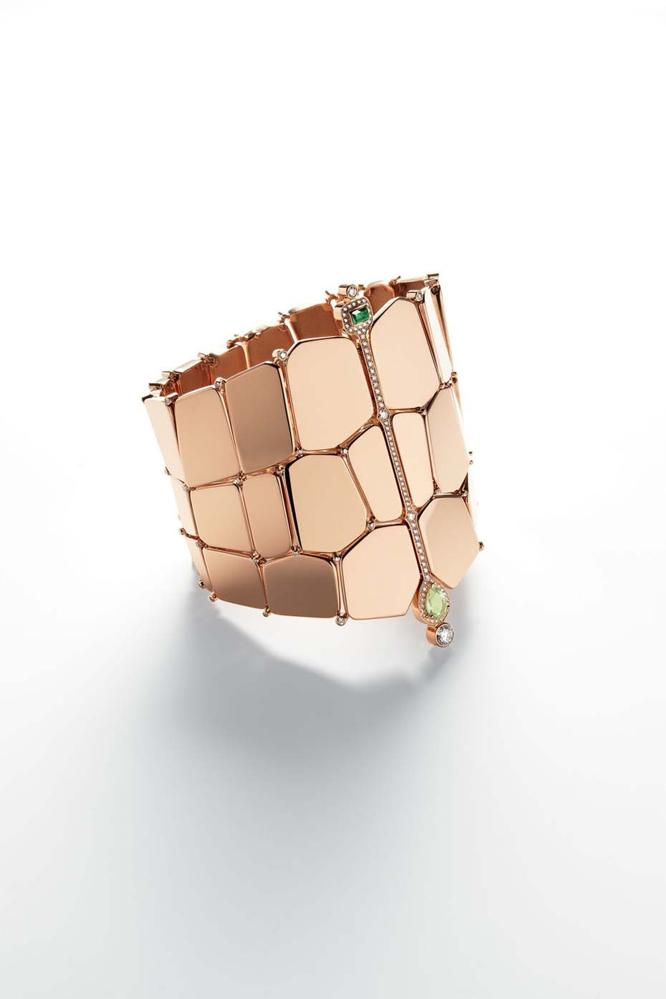 Hermès Niloticus rose gold bracelet set with a pear-shaped peridot, iolite and brilliant-cut diamonds