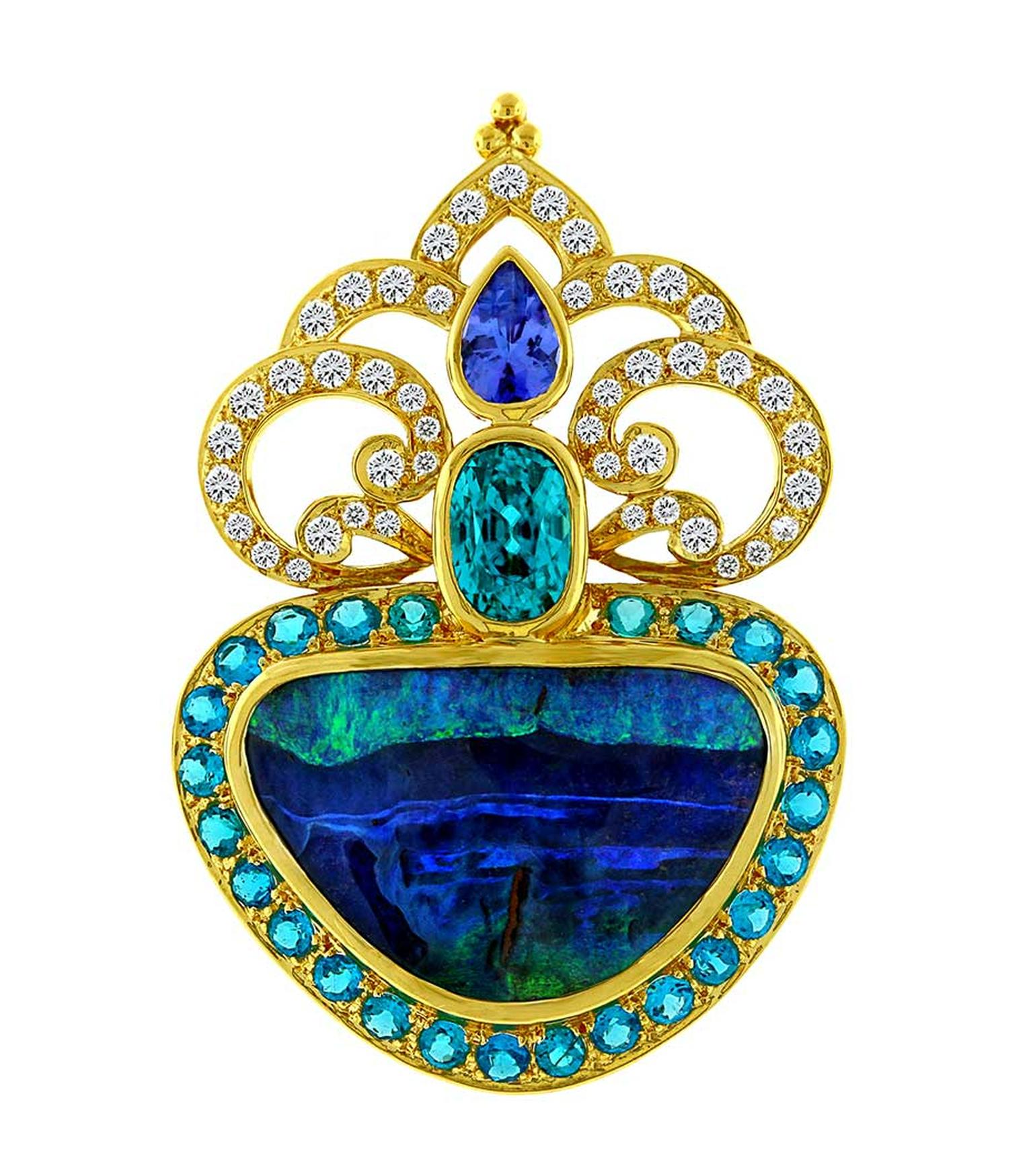 Paula Crevoshay will be showing her breathtaking designs at the Couture Show Las Vegas, including this pendant set with a 22.30ct opal, tanzanites, apatites, blue zircon and diamonds