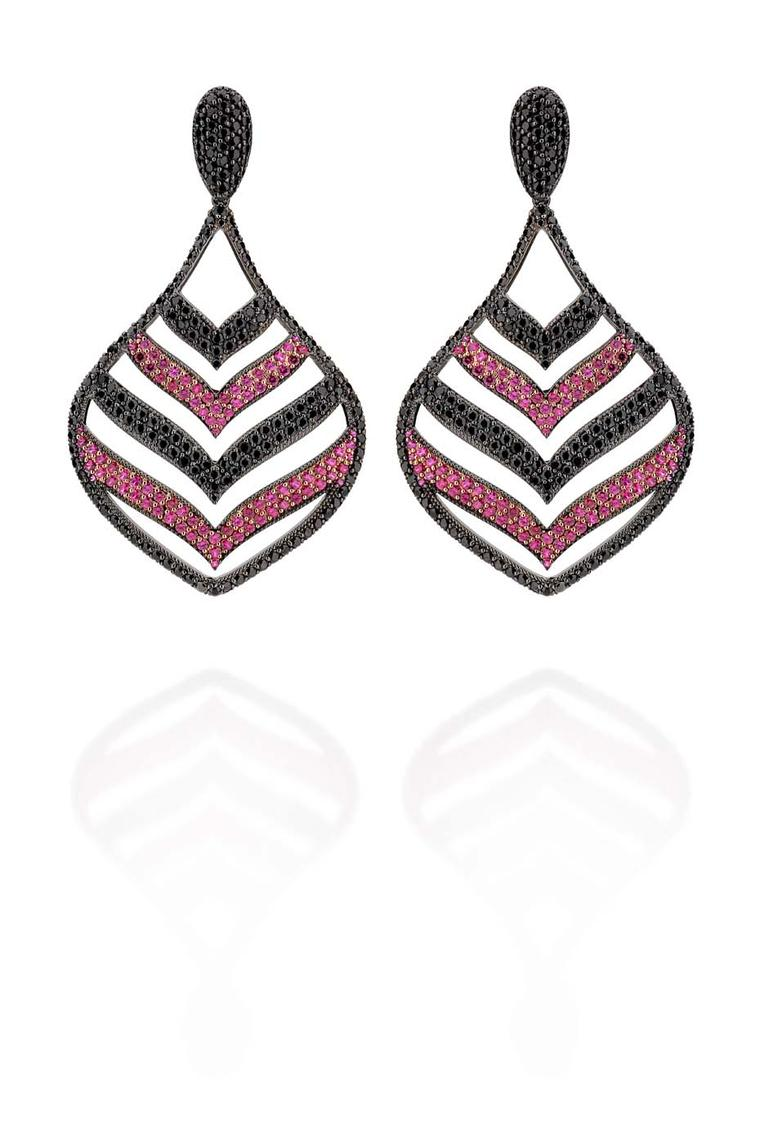 Carla Amorim Russia Collection Czarina earrings with rubies and black diamonds, inspired by Catherine II, the longest ruling female leader of Russia