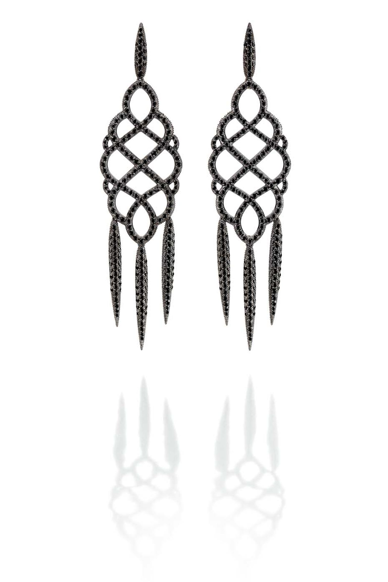 Carla Amorim Russia Collection Hermitage earrings in blackened gold and black diamonds, inspired by the Hermitage museum in Saint Petersburg