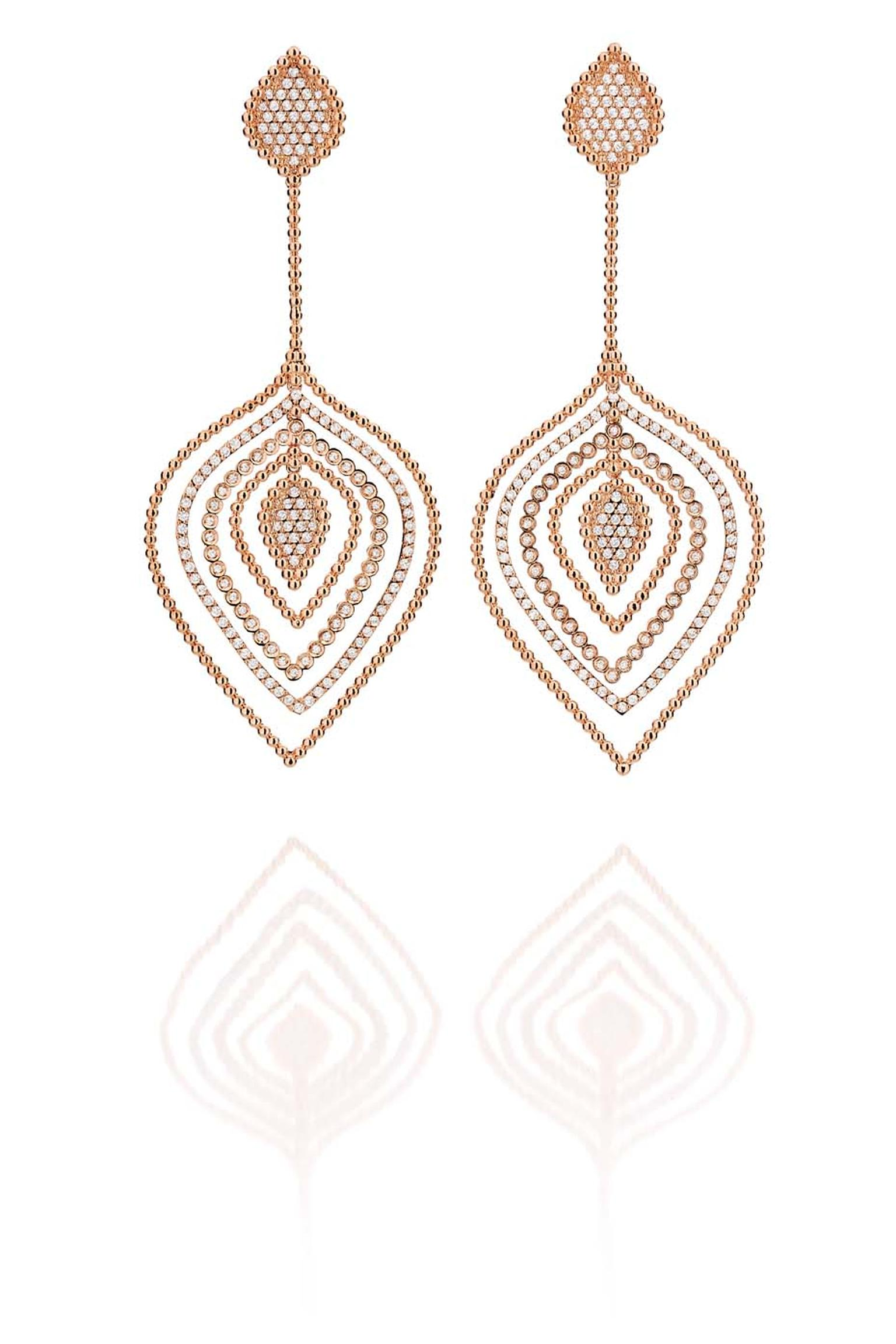 Carla Amorim Russia Collection Kremlin earrings in rose gold and diamonds, inspired by Moscow's famous government headquarters in Moscow
