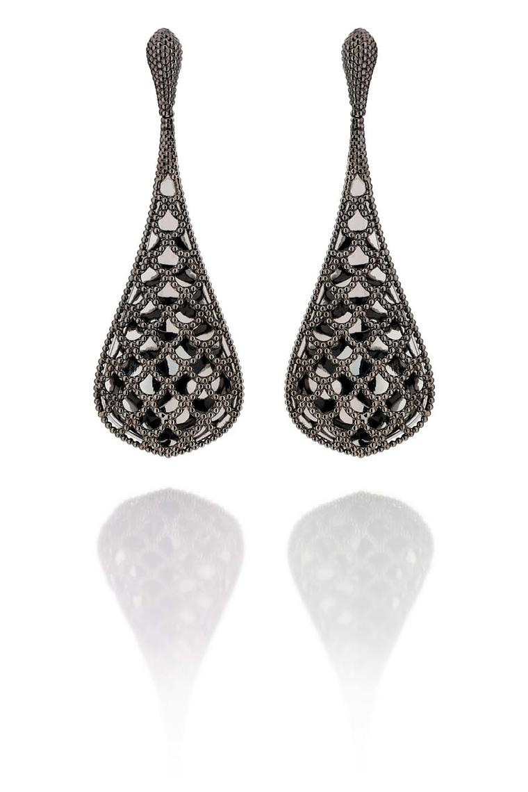 Carla Amorim Russia Collection Palmeni earrings in blackened gold are inspired by a hearty Russian dish of the same name