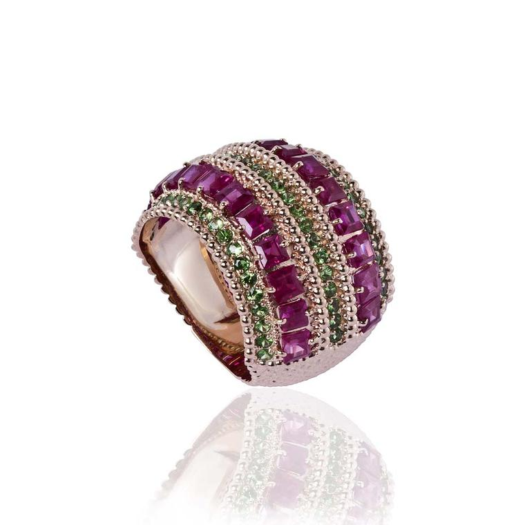 Carla Amorim Russia Collection St Basil ring with rubies and tsavorites, inspired by the brightly painted motifs on the domes of the cathedral