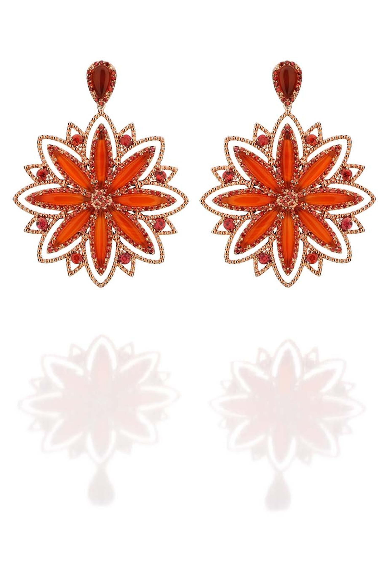 Carla Amorim Russia Collection Sunflower earrings with cornelian and orange sapphires. A flower closely associated with the country, together with Ukraine Russia produces 95% of the world's sunflowers