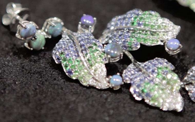 Wendy Yue earrings with a black opal base featuring tsavorites, sapphires and rubies