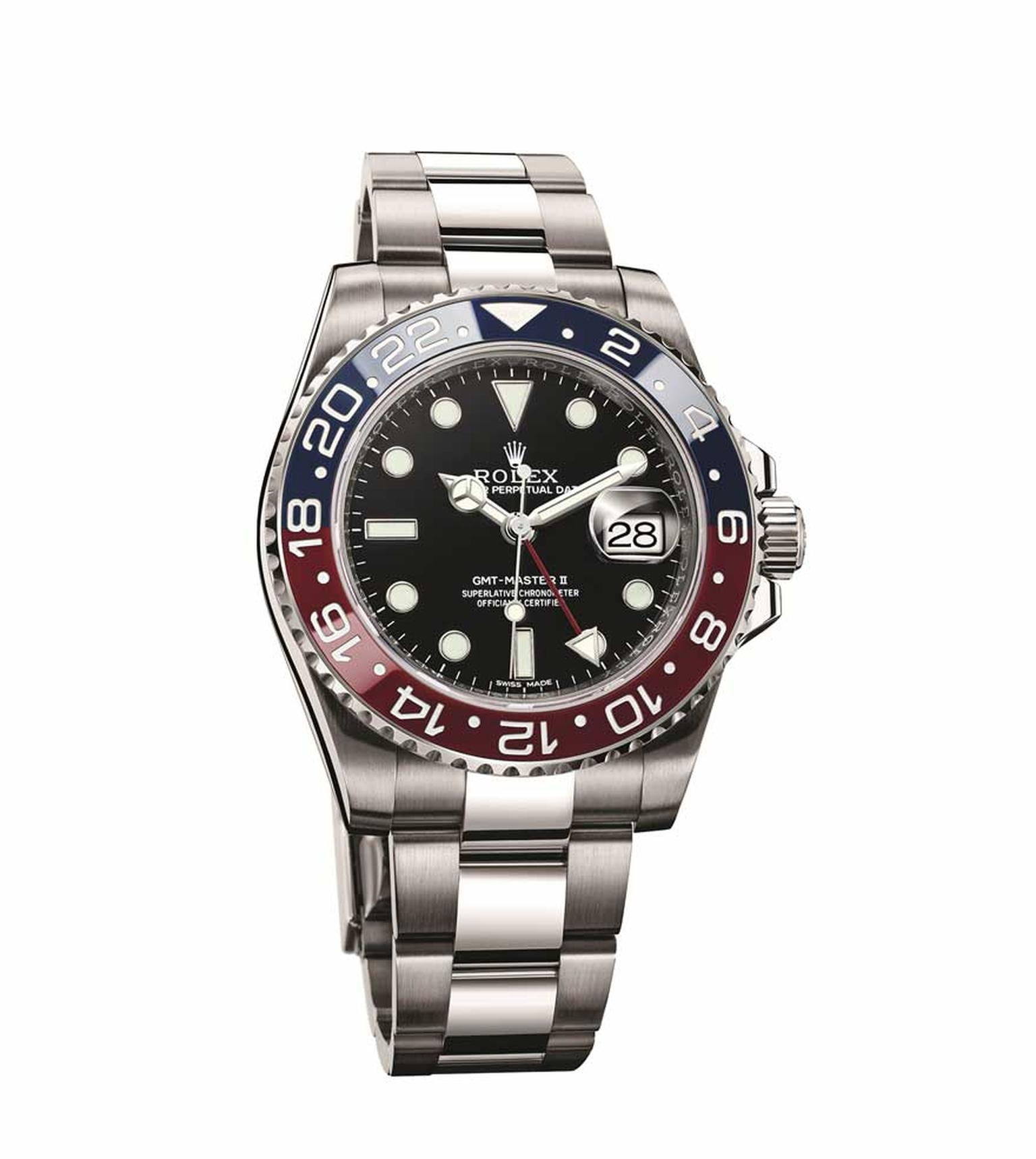 The Rolex GMT Master watch features a world first with its two-coloured red and blue 'Pepsi' Cerachrom ceramic bezel
