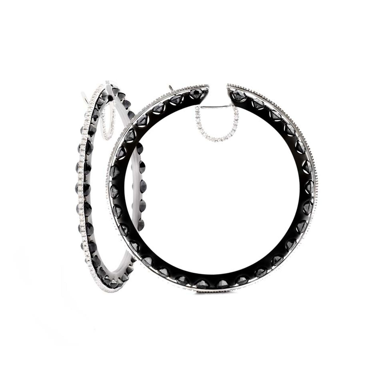 Damian by Mischelle black and white diamond loop earrings