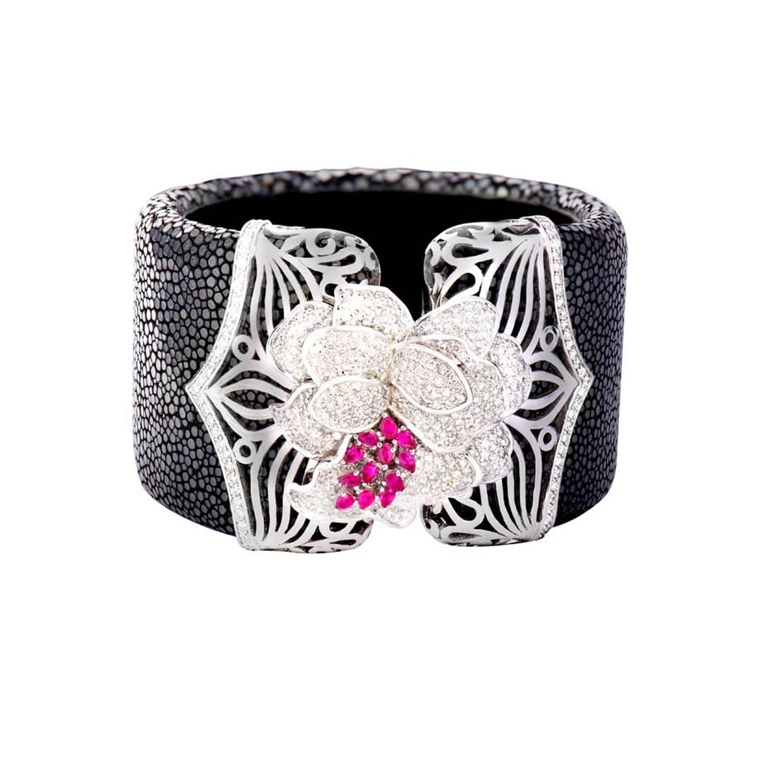Damian by Mischelle Galuchat bangle with diamonds and rubies