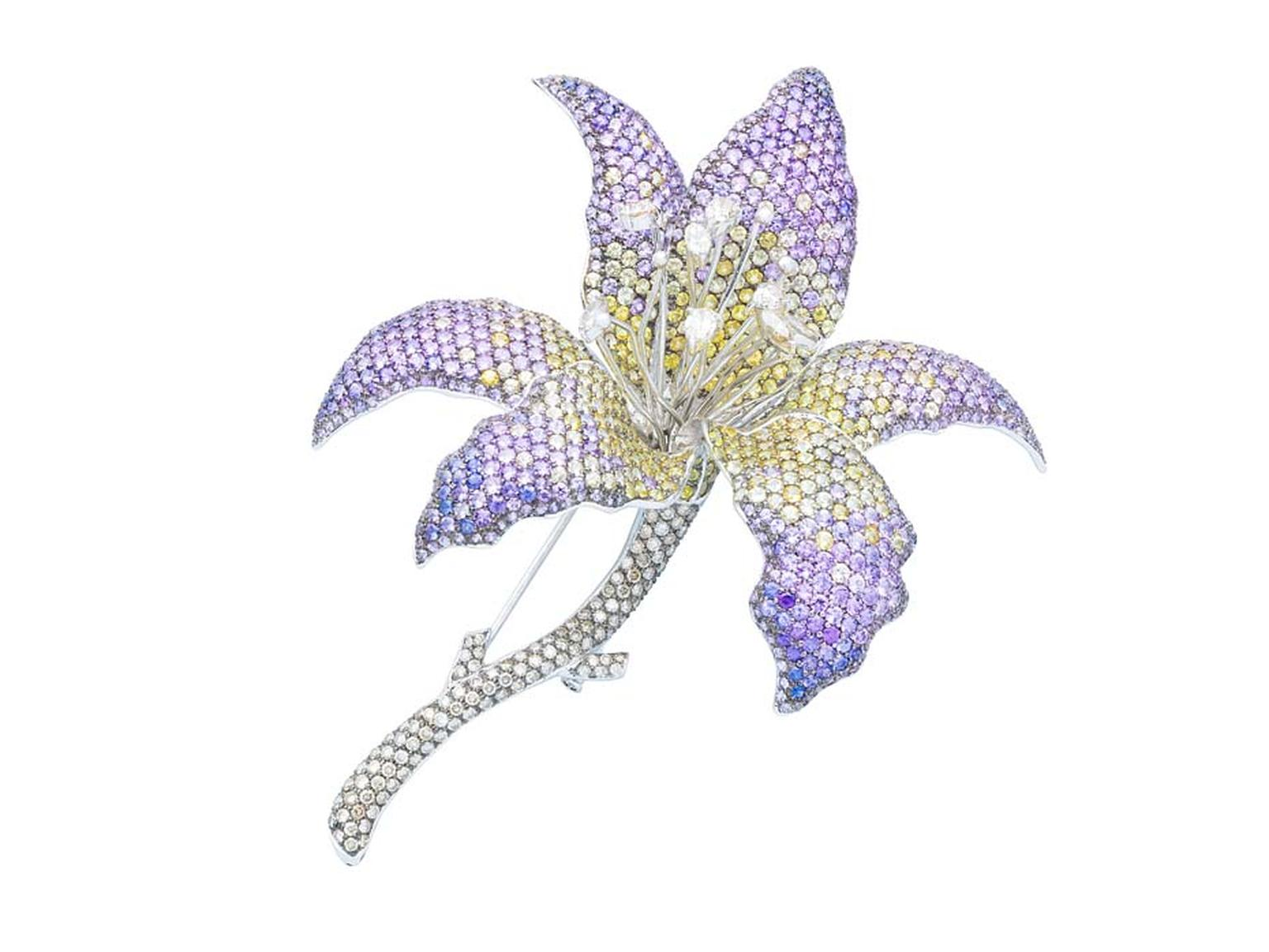 Damian by Mischelle Orchid brooch with yellow and purple sapphires