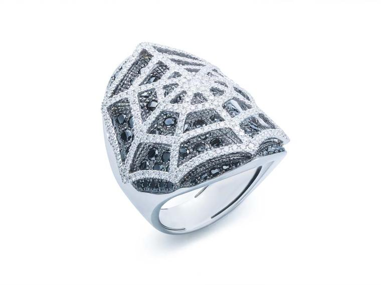 Damian by Mischelle Spiderweb ring with black and white diamonds