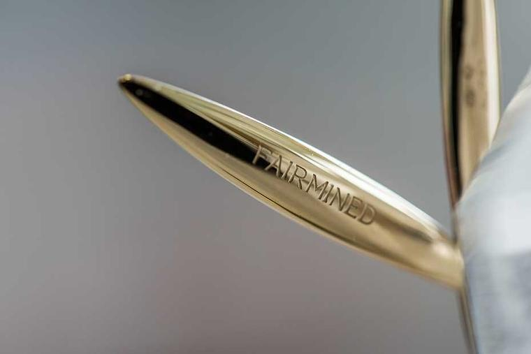 On the reverse of one of the feathery palm leaves that decorate the 2014 Palme d'Or award, Fairmined is stamped in capital letters in recognition of Chopard's commitment to sustainable luxury