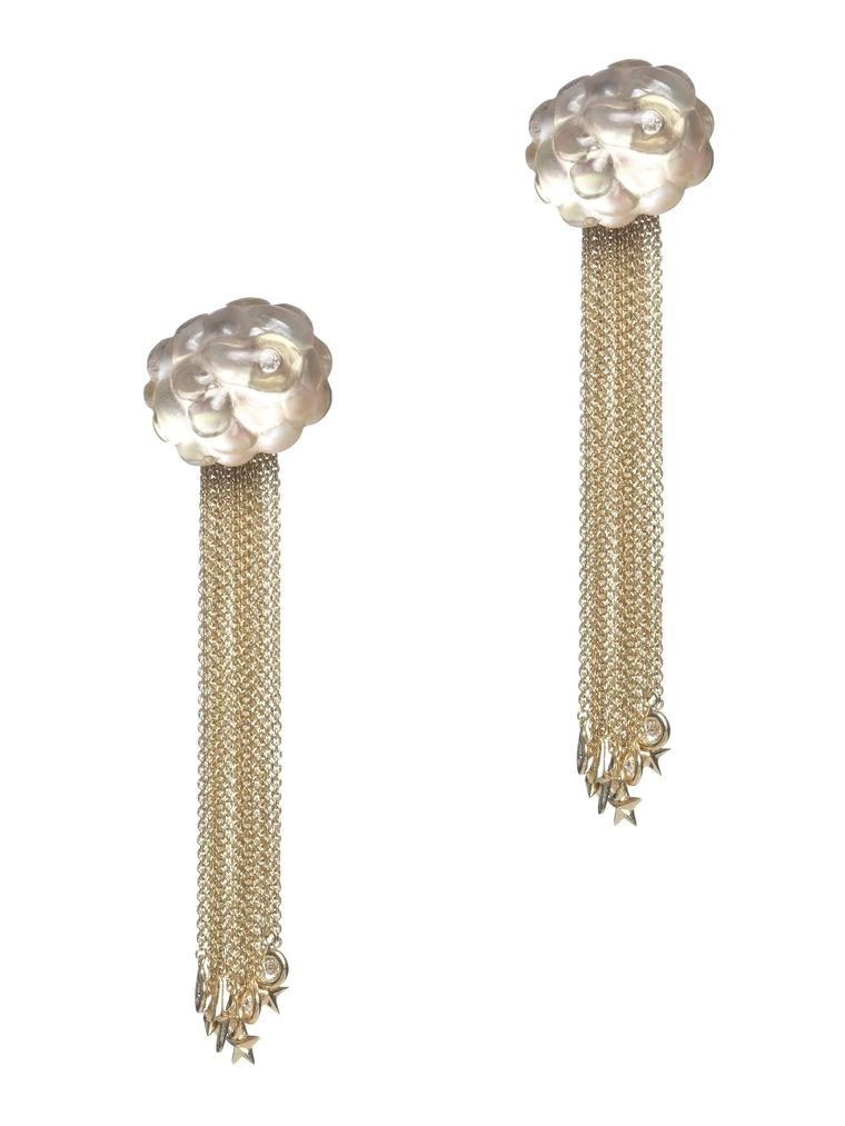 Bibi van der Velden Cloud tassel gold earrings with carved smoky quartz and diamonds (€6,645)