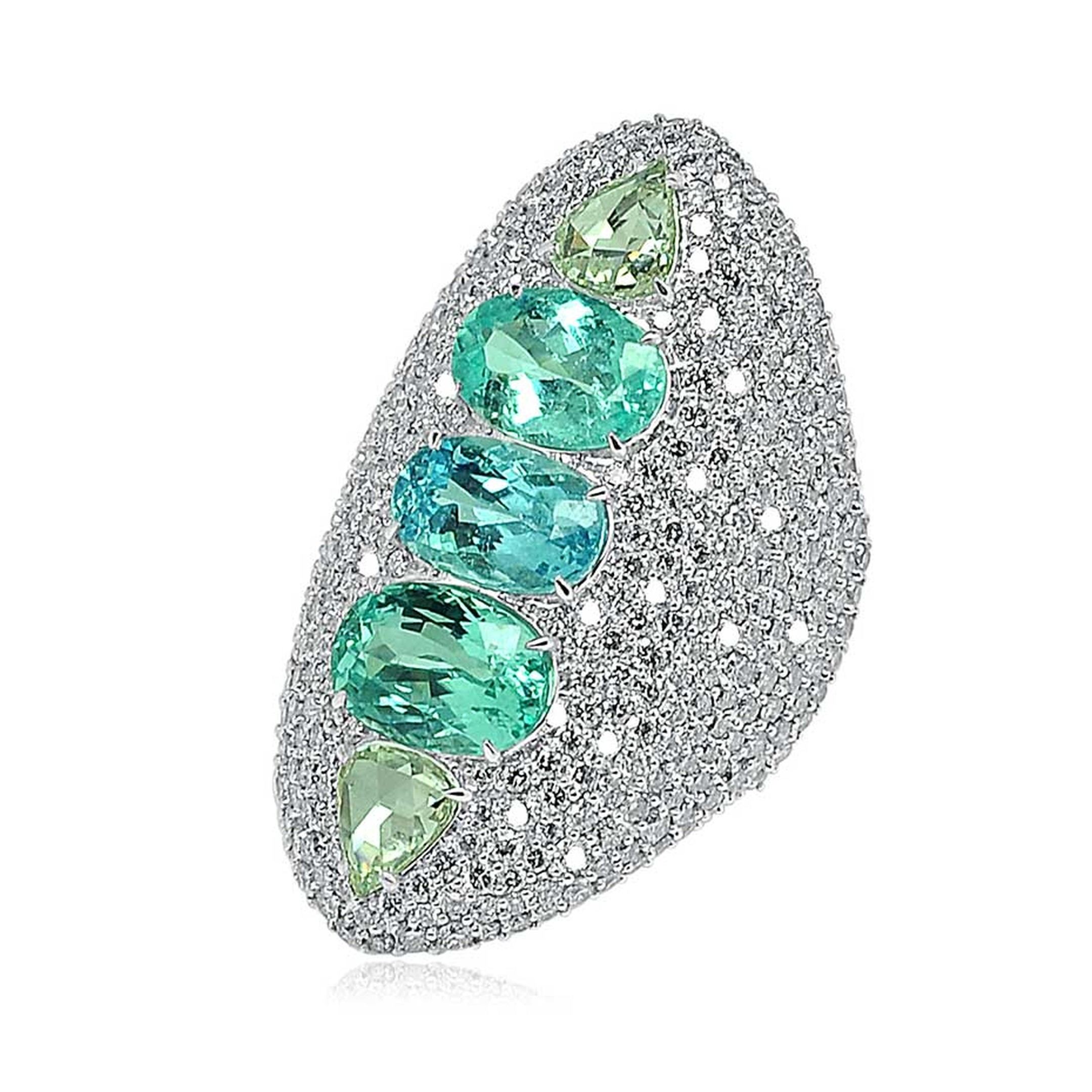 Sutra multi-coloured Paraiba tourmaline ring in white gold with diamonds