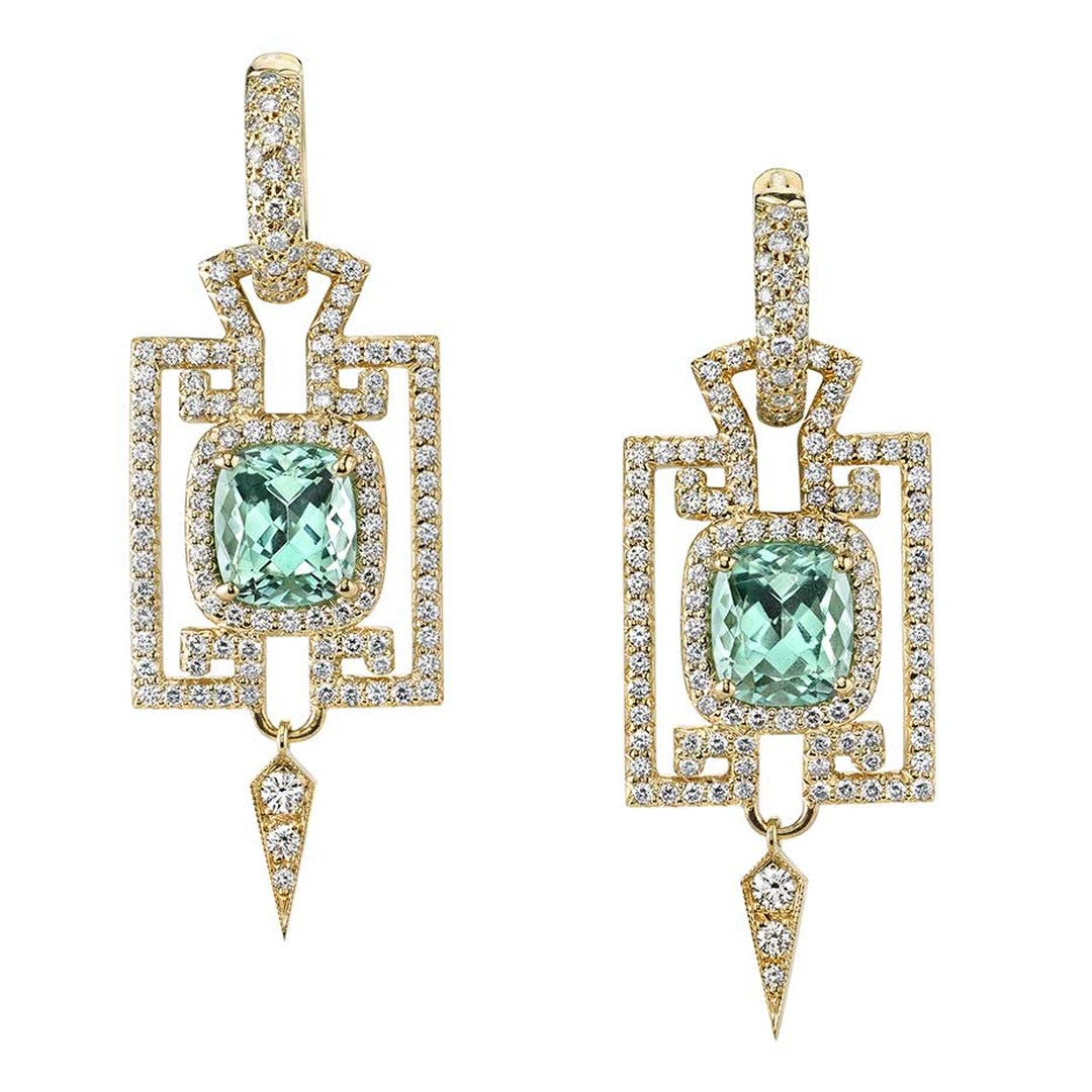 Erica Courtney square mint tourmaline earrings in gold with diamonds.