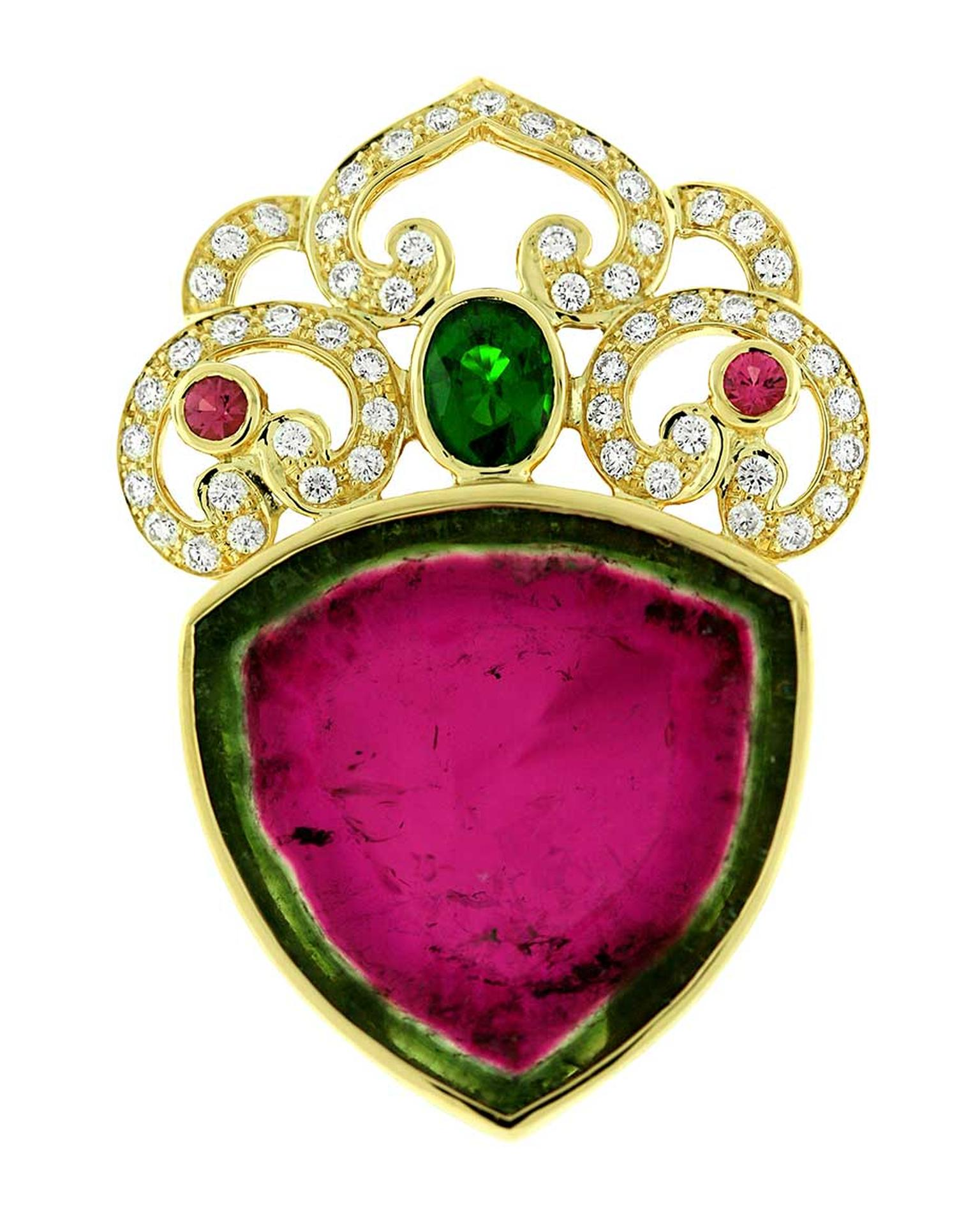 Paula Crevoshay Nature's Heart pendant in gold, with a 51.05ct watermelon tourmaline, tsavorite, pink tourmalines and diamonds