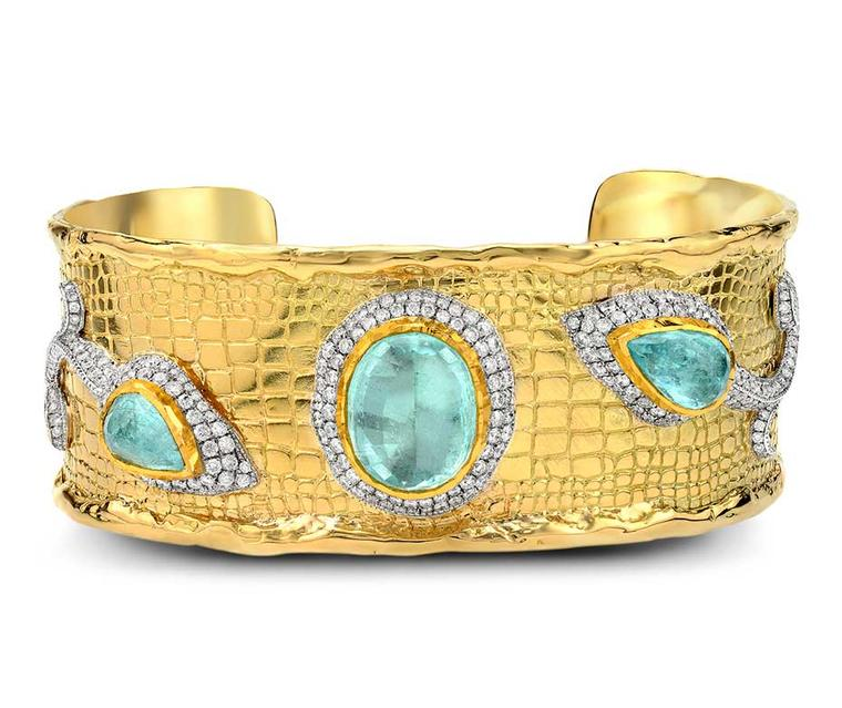 Victor Velyan gold cuff with Paraiba tourmalines and diamonds