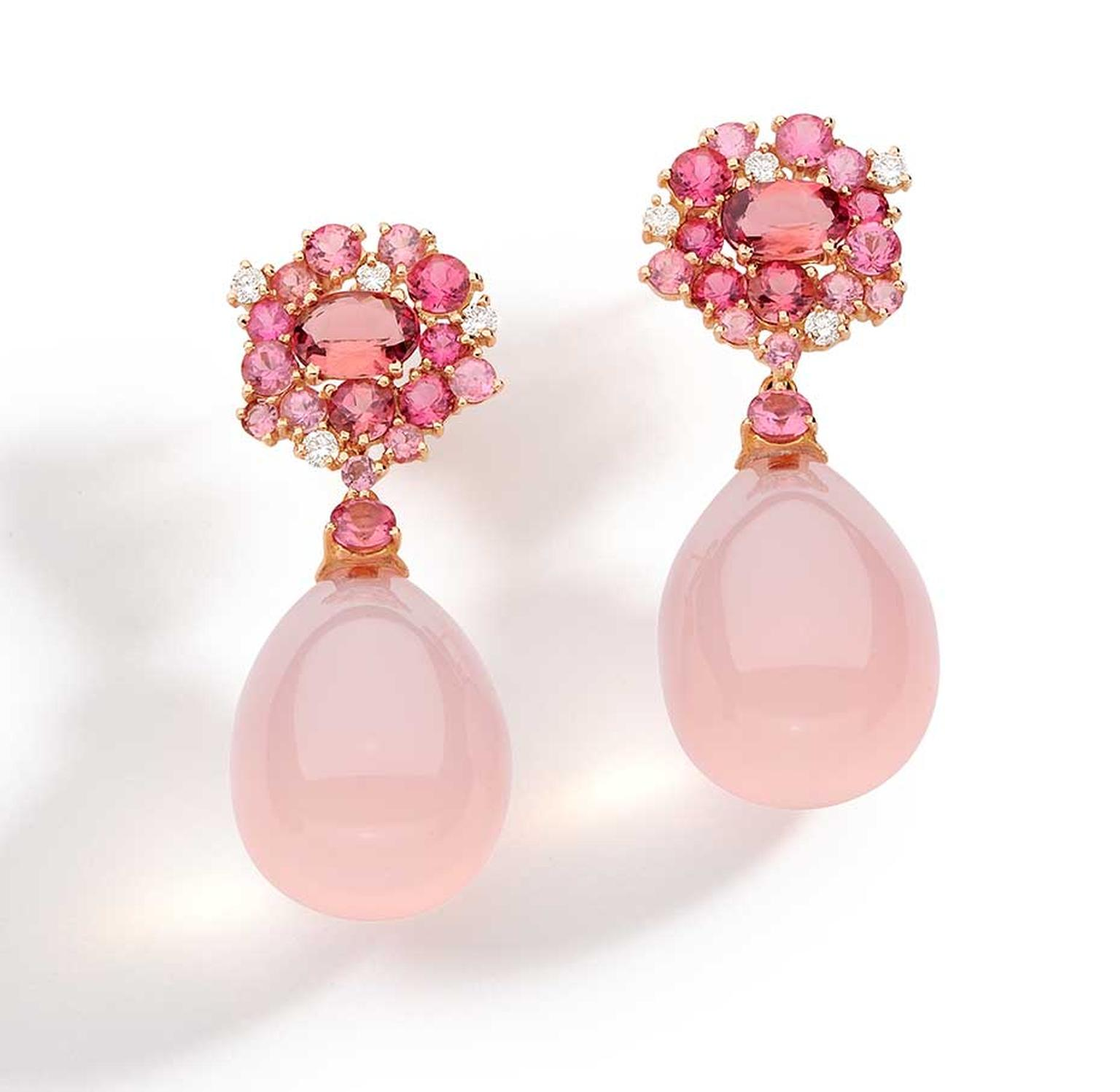 Brumani Baobab Rose collection earrings in rose gold with round diamonds, pink quartz and pink tourmaline