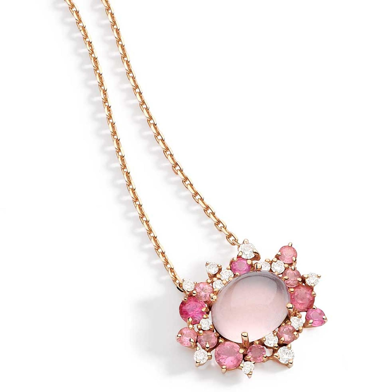 Brumani Baobab Rose collection necklace in rose gold with round diamonds, pink quartz and pink tourmaline