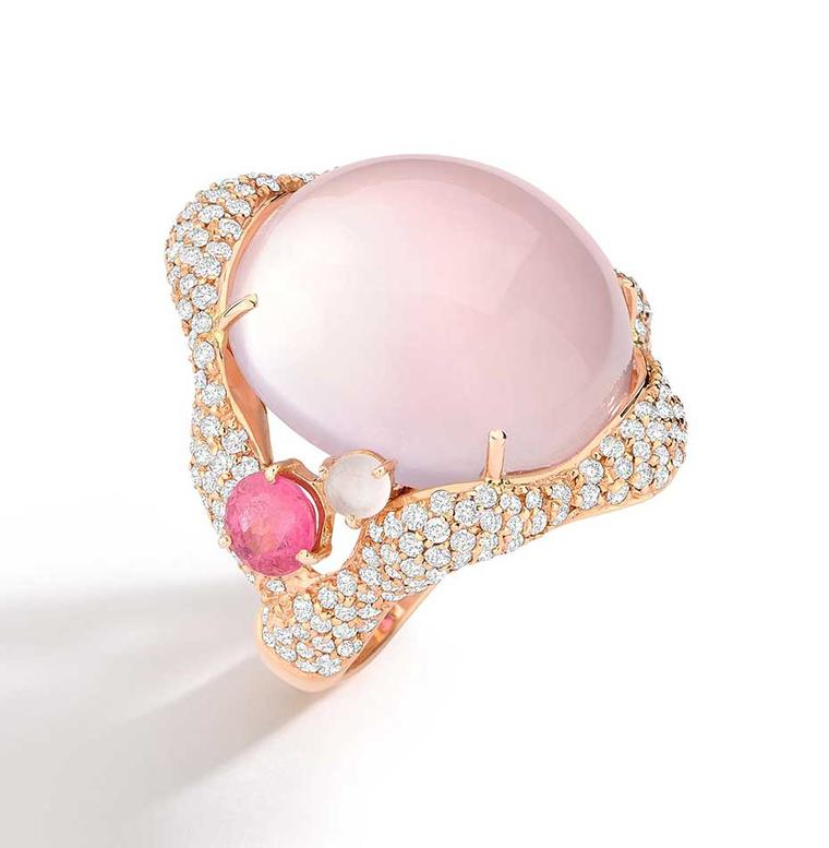 Brumani Baobab Rose collection ring in rose gold with diamonds, rose quartz and pink tourmaline