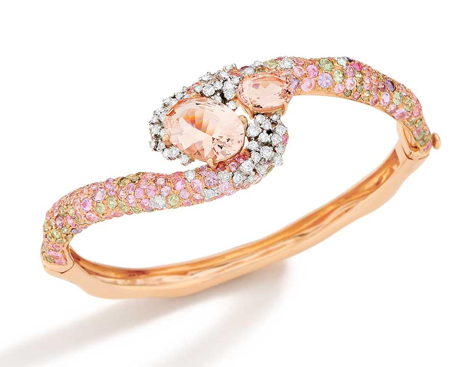 Brumani Panache collection white and rose gold bracelet with white and brown diamonds, morganite and multi-coloured sapphires