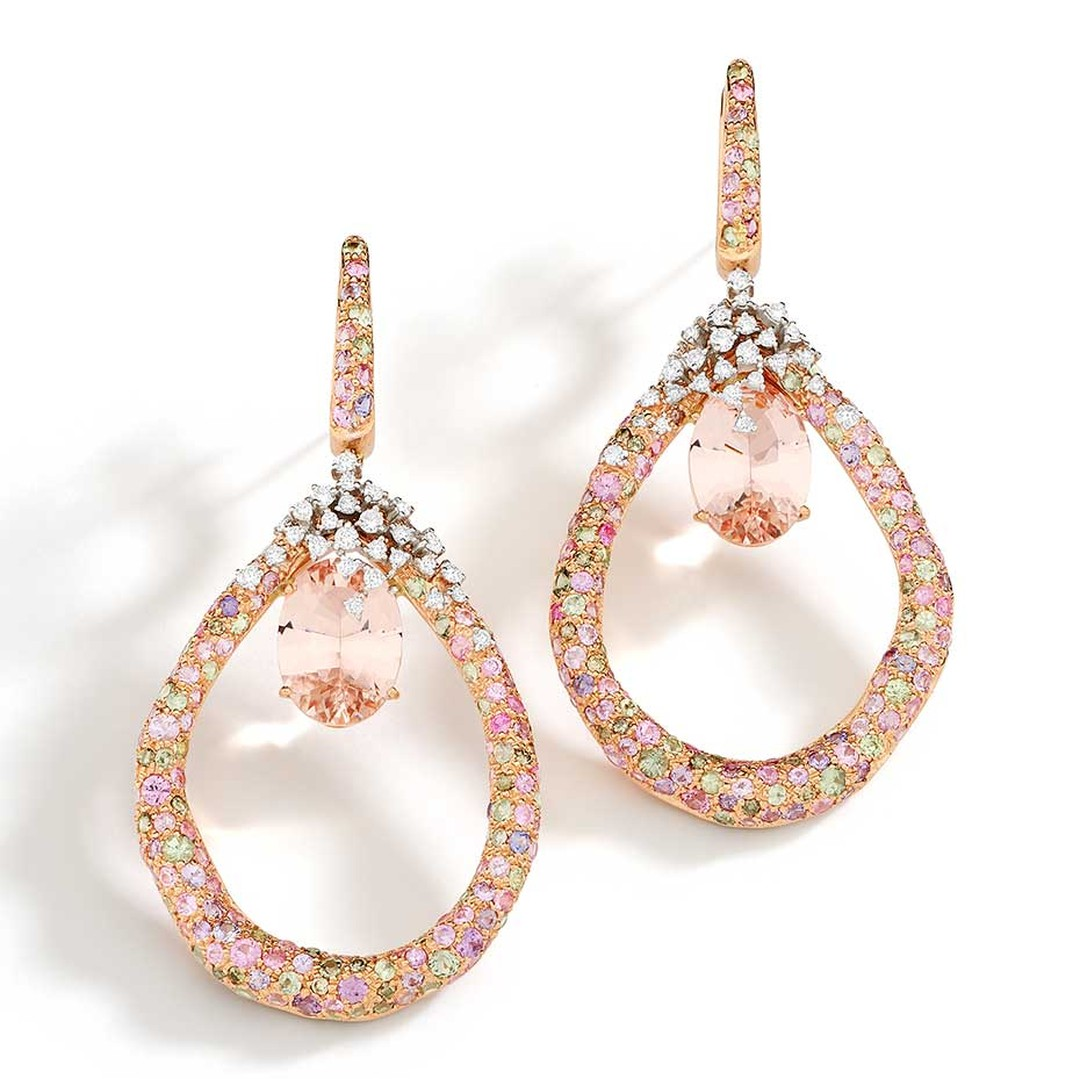 Brumani Panache collection white and rose gold earrings with white and brown diamonds, morganite and multi-coloured sapphires